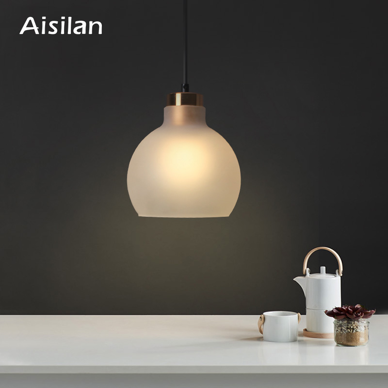 Aisilan LED Dining Room Lamp Nordic Artistic Glass Pendant Light Minimalist Bar Study Cafe Hang Lamp Bedside Lamp