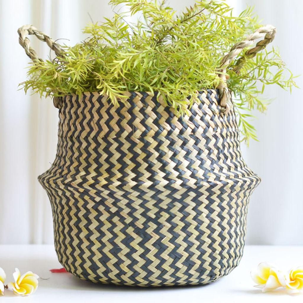 2019 online star item Household necessities Seagrass Wicker Basket Flower Pot Folding Basket Dirty Basket Storage Decoration-in Flower Pots & Planters from Home & Garden