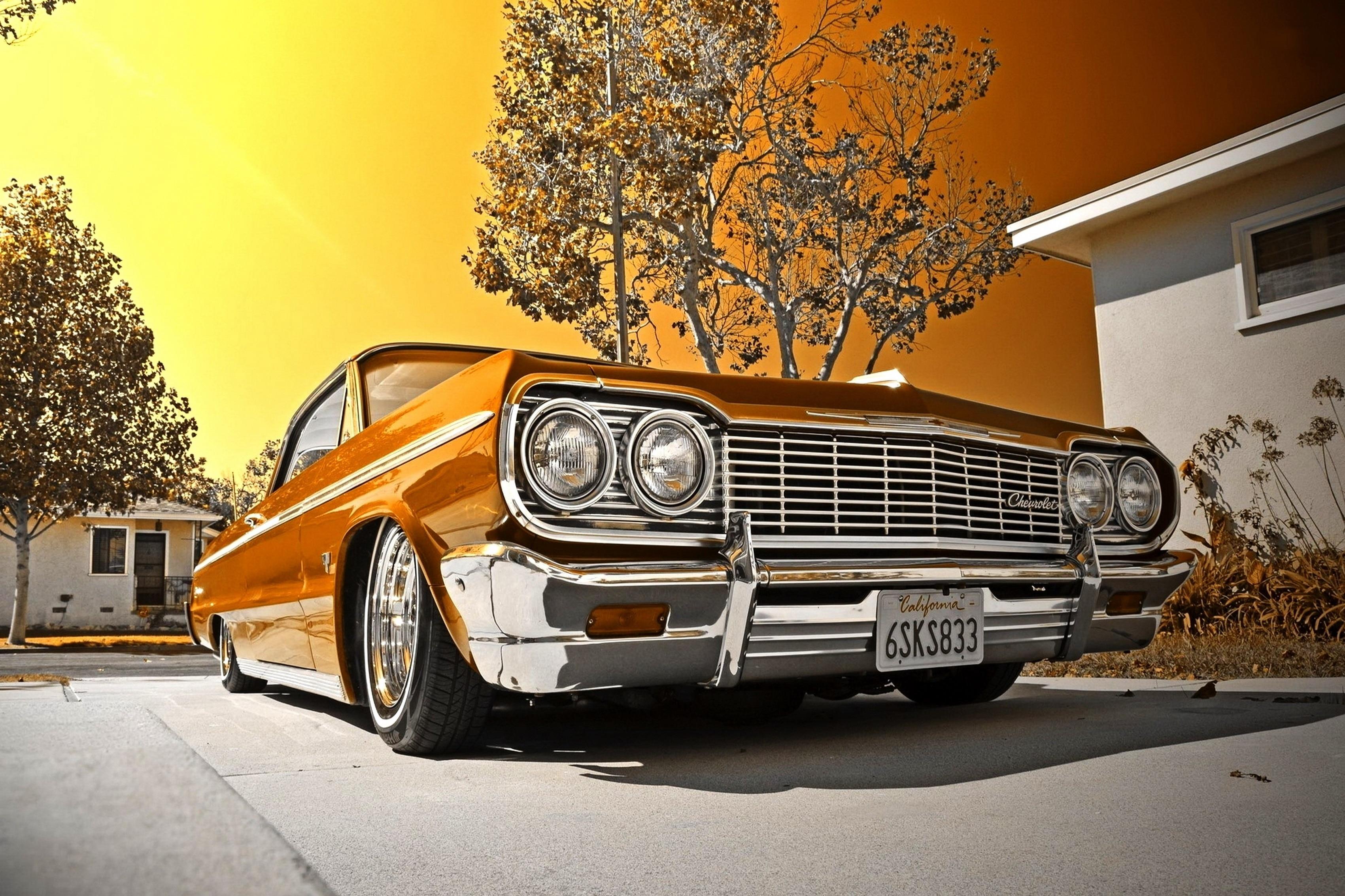 home decoration 1964 impala convertible lowrider sports car silk fabric poster print hc057china