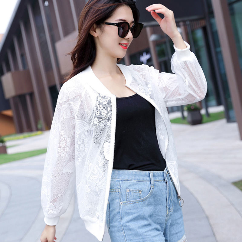 Summer   Jacket   Female Butterfly Printing New Thin Lace   Jacket   Women Solid Color Beach Cardigan   Basic     Jackets   Plus Size 4XL C5441