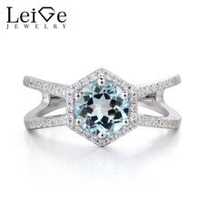 Leige Jewelry Real Natural Aquamarine Ring Engagement Ring Round Cut March Birthstone Gemstone Solid 925 Sterling Silver Ring