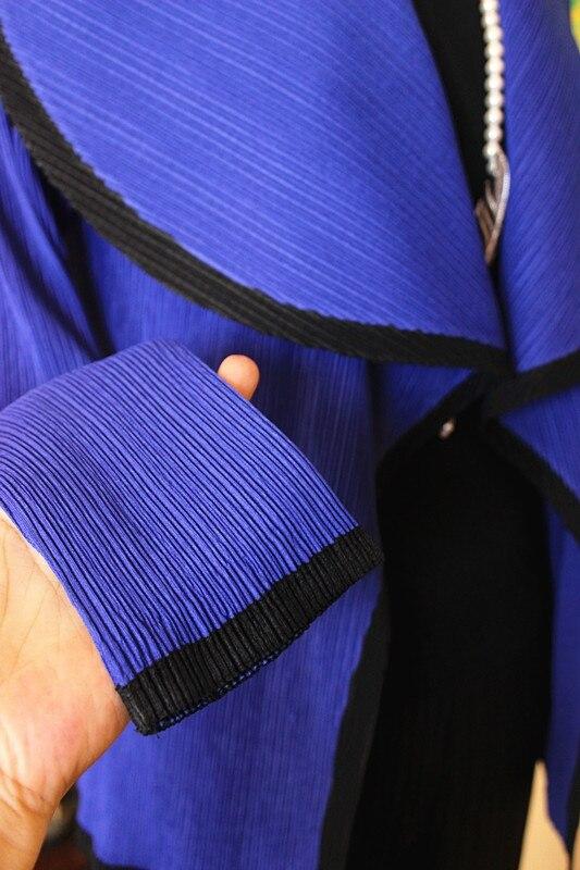 cou En Automne Gratuite Longues Printemps De Bleu O Manches Stock Courte Décoration Couleur Petit Veste Plissé Boutons Et Bloc À Manteau Livraison fHxPwqpgg