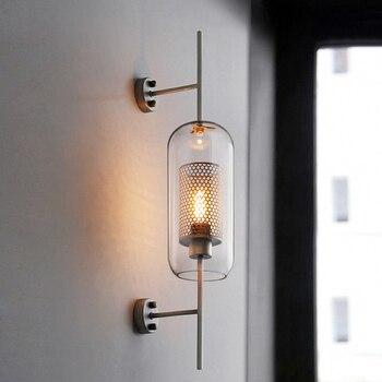 2018 Baru Modern Retro Sederhana Kreatif Kamar Tidur Restoran Lampu Belajar LOFT Besi Kaca Lampu Dinding