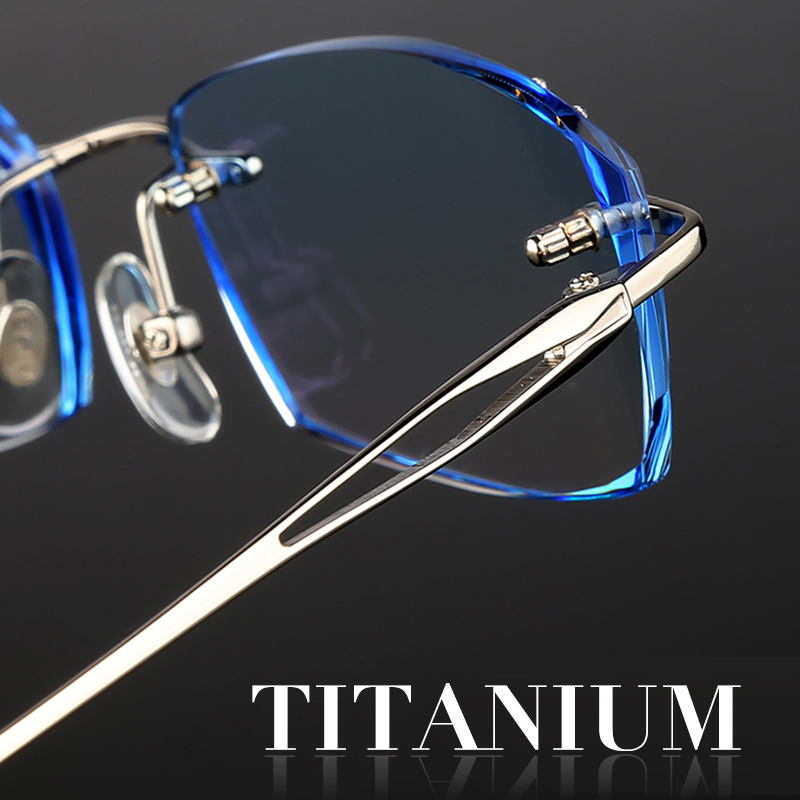 Titanium Frames Rimless Glasses Korean For Men Eyeglasses Luxury Male Complete Spectacle Prescription Computer Eye Glasses 651