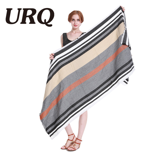 2017 new very soft warm scarf in winter for women lady long fashion striped scarves with tassel hijab shawl wrap big size 80*210