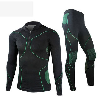 Green Cycling jersey Men's Long Sleeve Underclothes Outdoor Sports Thermal Underwear Wrestling Singlet