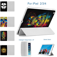MTT Case for iPad 2 3 4 9.7'' Matte Transparent Printed Skeleton Trifold PU Leather Ultra Slim Smart Cover for iPad 2/3/4 Cases