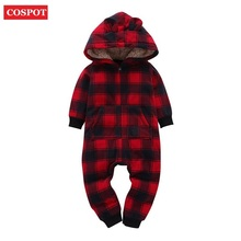 COSPOT Newborn Christmas Romper Baby Girls Boys Winter Autumn Hooded Jumpsuit Infant Thick Warm Jumper 2017 New Arrival 20D