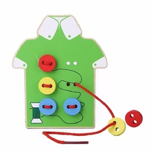 Montessori Educational Toys For Children Beads Lacing Board Wooden Toys Toddler Sew On Buttons Early Education Teaching Aids 44 montessori early education to eat apple hands on teaching aids children s educational toys baby threading puzzle wooden toys