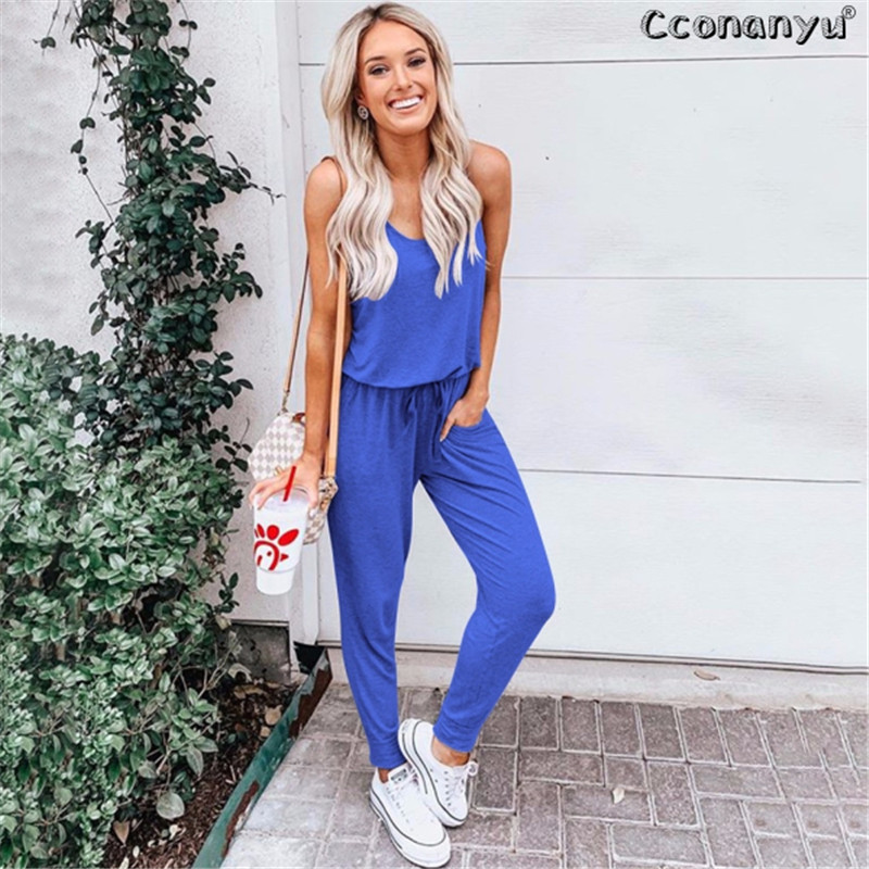 2019 Summer Sleeveless Lace-Up Women Jumpsuit O Neck Pockets Casual Sleeveless Solid Jumpsuit Casual  Sport Jumpsuit