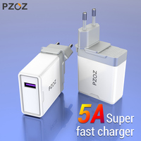 Pzoz 5A super charger eu plug adapter for huawei p20 p10 mate 20 pro 10 lite honor fast charging USB charger 5V/4.5A supercharge Mobile Phone Chargers     -
