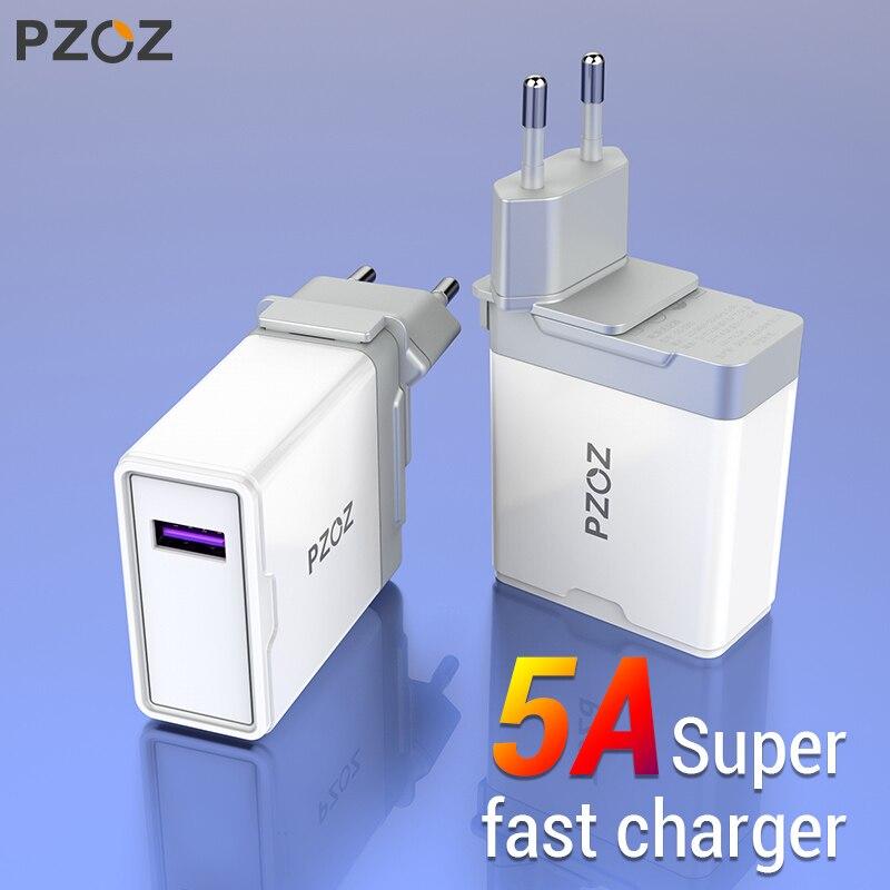 Pzoz 5a super carregador adaptador de plugue da ue para huawei p20 p10 companheiro 20 pro 10 lite honra carregamento rápido carregador usb 5 v/4.5a supercharge