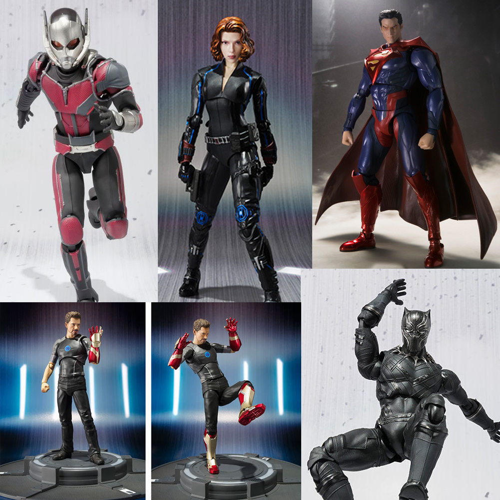 Marvel Avengers Captain America Ant Man Black Panther Black Widow Ironman Tony Cartoon Superman Figure Model Toys for Children avengers captain america 3 civil war black panther 1 2 resin bust model panther statue panther half length photo or portrait