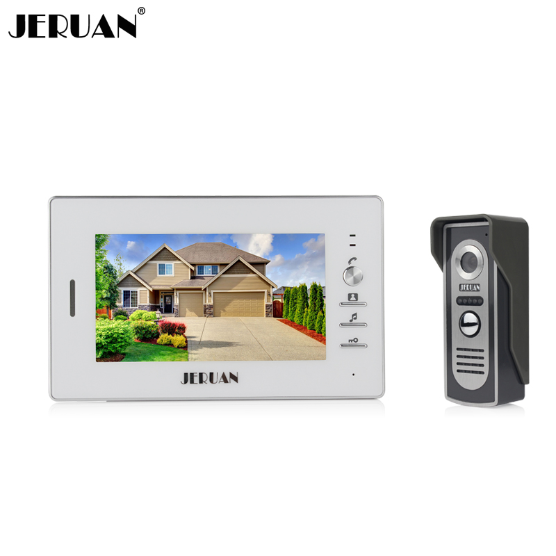 JERUAN 7`` LCD screen video doorphone sperakerphone intercom  system 1 monitor + 700TVL COMS camera  In Stock FREE SHIPPING brand new 7 inch color screen video doorphone sperakerphone intercom system 1 monitor 700tvl coms camera free shipping