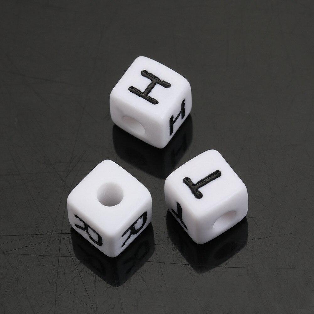 Perle en bois alphabétique de 10 x 10 mm Lot de 3 perles Lettre N Blanc