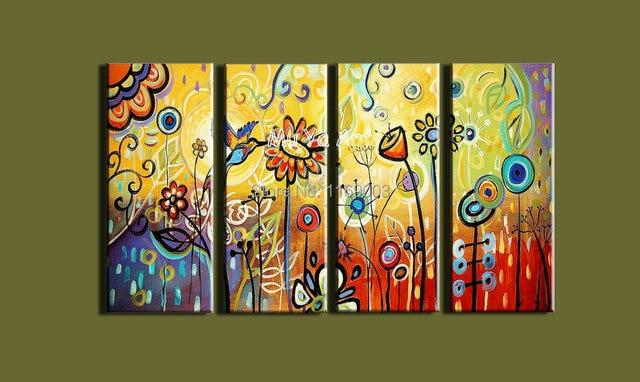 4 piece modern canvas wall art abstract large acrylic sunflower