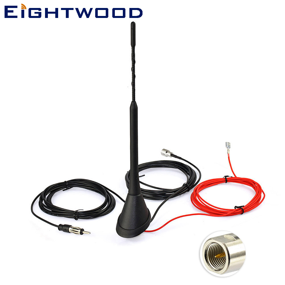 Eightwood DAB Radio Car Aerial Antenna Mast FME Amplified roof mount antenna eightwood car roof top shark fin amplified antenna for gps navigation system dab digital radio car stereo fm am radio combined