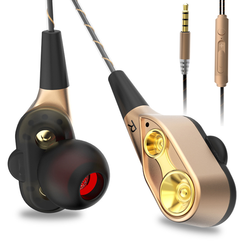 3.5mm Double Unit Drive Earphone Bass Subwoofer Stereo Earphones With Microphone Sport Earbud For Apple iPhone Huawei Head Phone