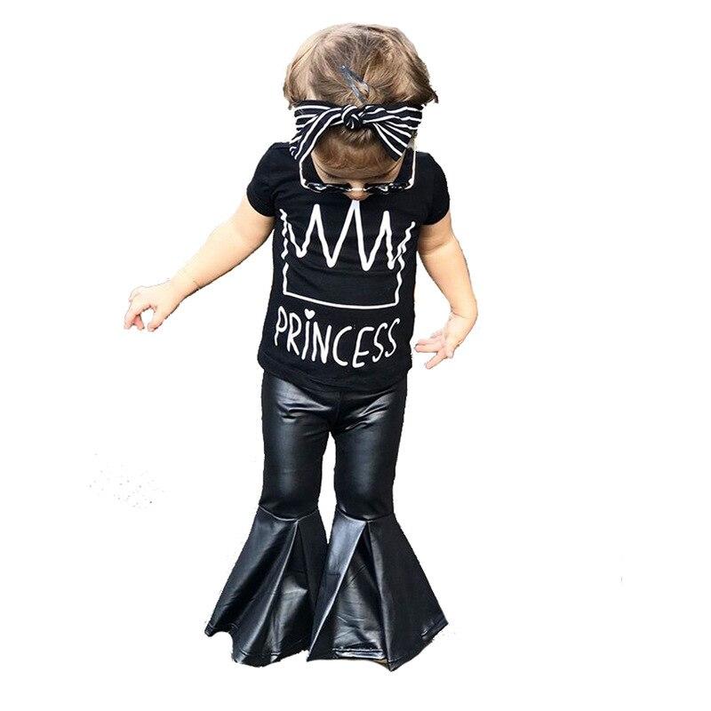 Girls Set New Summer Short Sleeve Crown T-Shirt PU Horn Leg Pants Two-piece Children's Set