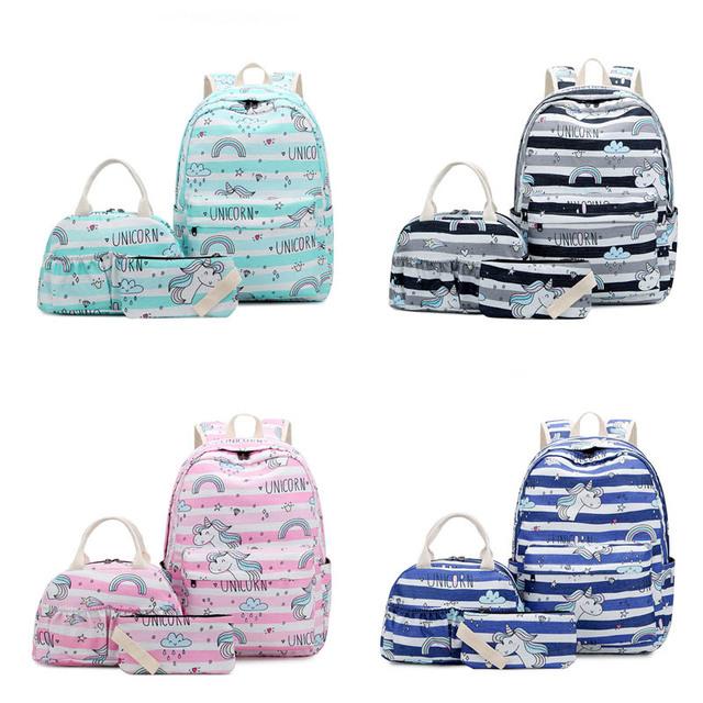 3Pcs Mochila De Unicornio Women Waterproof Nylon Laptop Backpack School Bags For Teenager