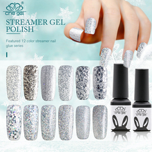 12 Pcs Lot Silver Glitter UV Gel Polish Nail Shimmer Soak Off Nail Varnish Sequins Bling Sparkle LED Gel Nails Manicure Nagellak
