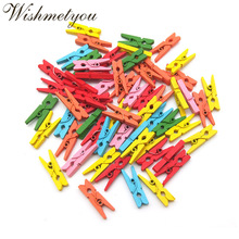 WISHMETYOU 50pcs Mix Color Mini Wooden Pegs Natural Wood Clothes Peg Pin Decor Photo Paper Clips For Diy Crafts 25mm 35mm