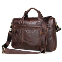 Augus Genuine Leather Fashion Design Business Laptop Bag In Chocolate Shoulder Bag Vintage Briefcase Bag For