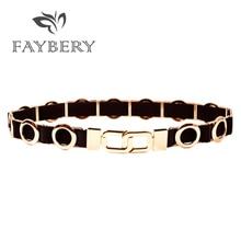 Fashion Golden Circle Metal Buckle Belts for Women Chain Belt Cummerbunds Elastic Stretchy 2018 Designer Woman