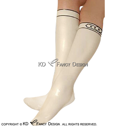 White With Black Sexy Knee Length Long Latex Stockings With Belt Rubber Socks Thigh high stockings WZ-0034