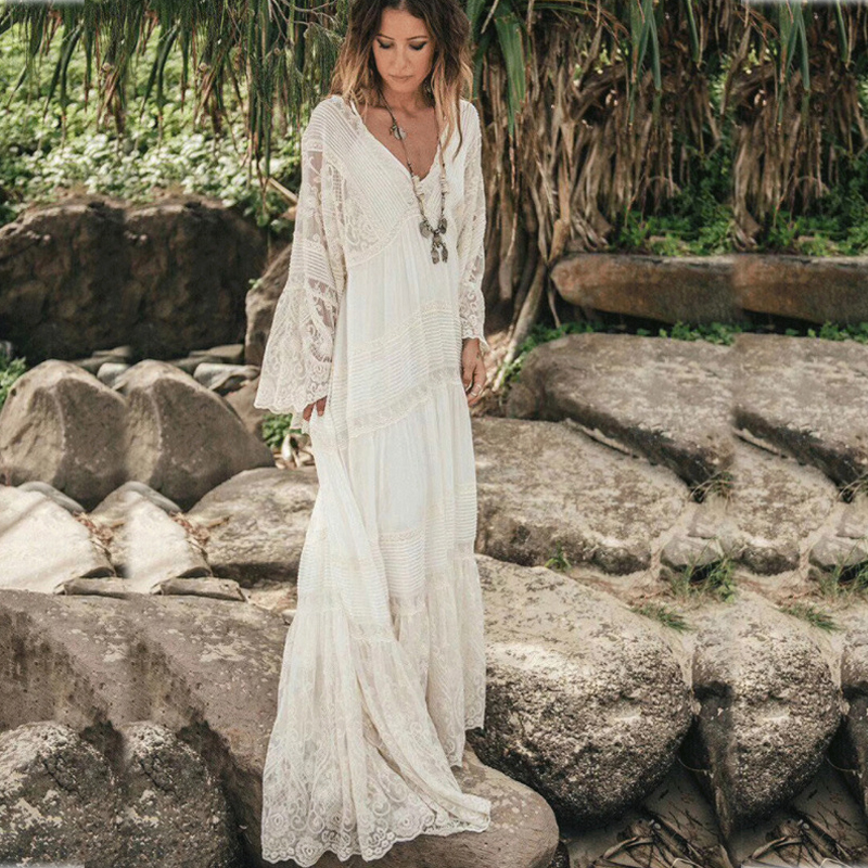 2019 lato projektant koronki siatki biały kobieta sukienka w dużym rozmiarze elegancki dekolt w serek z długim rękawem dwa kawałki sukienka wakacje wakacje Vestidos w Suknie od Odzież damska na  Grupa 1