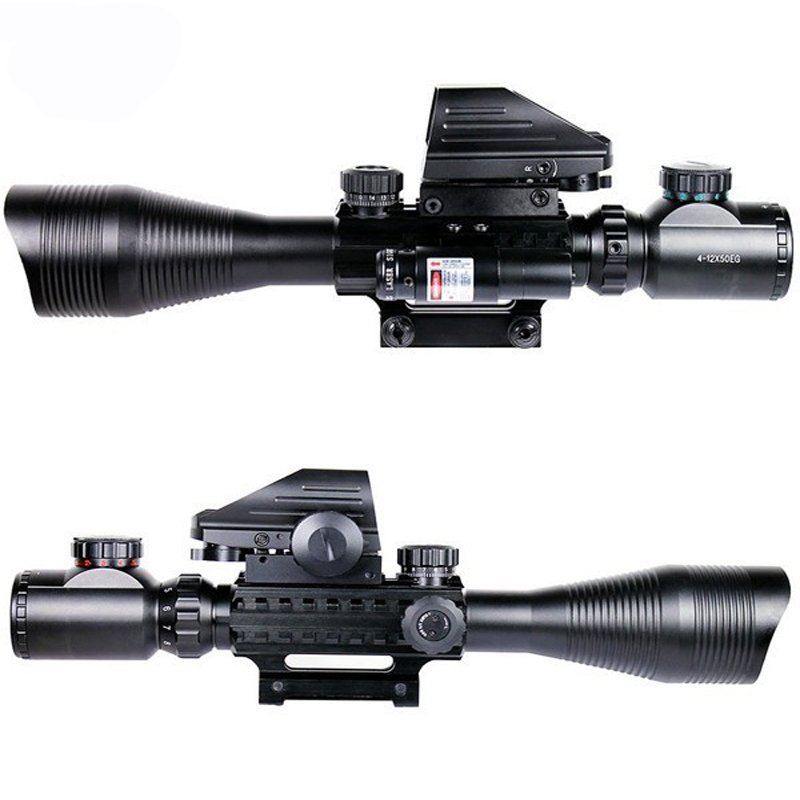 4-12X50 EG Riflescope & 4 Reticle Holographic & Red Green Dot Sight Laser Scope Tactical Hunting Shooting Sight Scope 20mm Rail tactical reflex red green laser 4 reticle holographic projected dot sight scope airgun rifle sight hunting rail mount 20mm