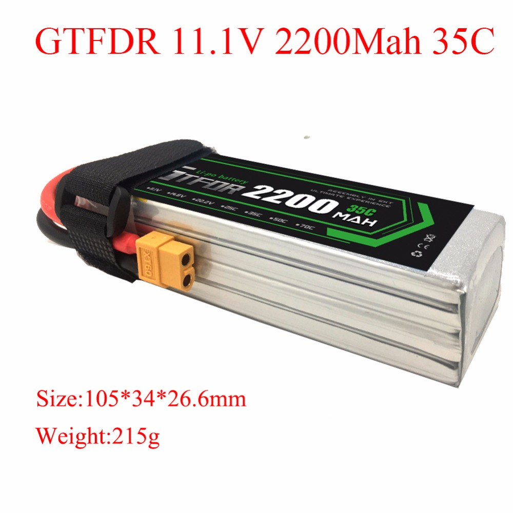 GTFDR Lipo Battery 11.1V 2200mAh 35C for RC Trex 450 Fixed-wing Helicopter Quadcopter Airplane Car Lipo 3s Bateria