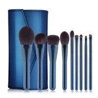 9 шт. высокое качество Blending Brush Pennelli Trucco набор кистей для макияжа Фонд кисти для макияжа Кисти с ПУ кожаный чехол