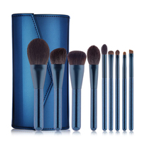 9Pcs High Quality Blending Brush Pennelli Trucco Makeup Brushes Set Foundation Brush Make Up Brushes With PU Leather Case