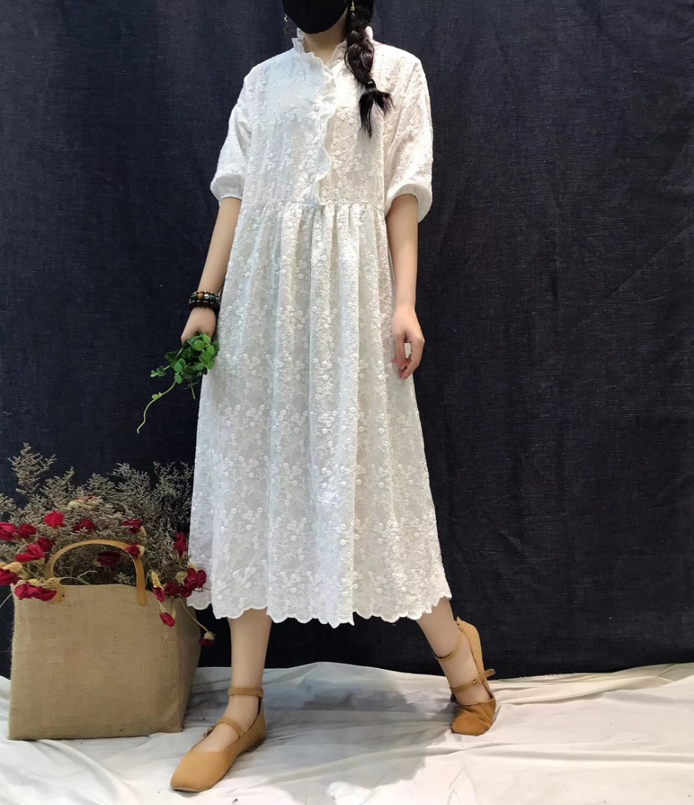 Vintage Heavy embroidery three quarter sleeve cotton dress mori girl 2019 summer