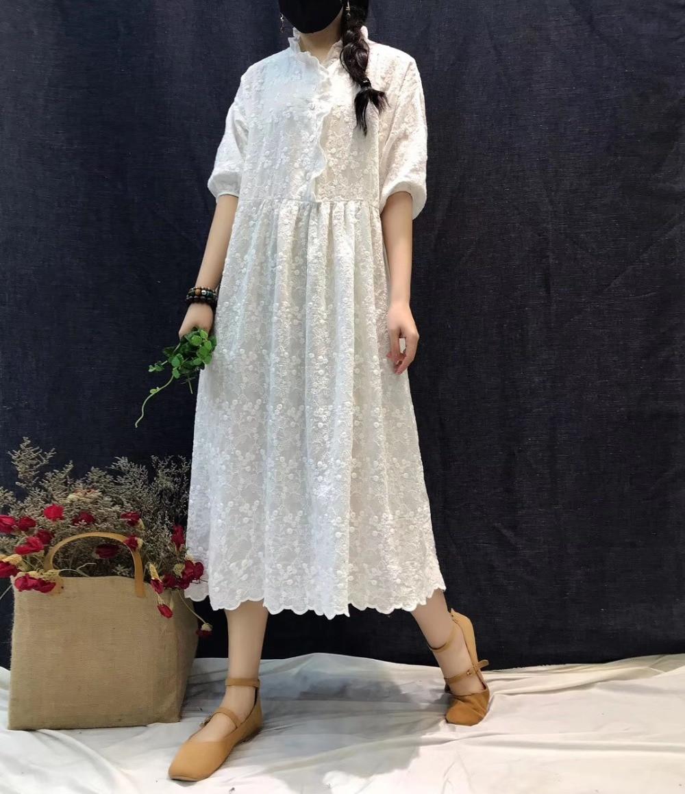 Vintage Heavy embroidery three quarter sleeve cotton dress mori girl 2019 summer