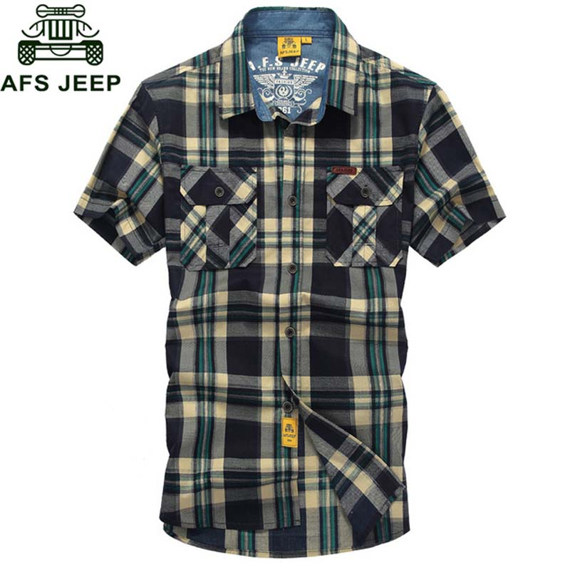 AFS JEEP Brand Clothing Summer Plaid Men Shirt 2018 Military Casual Short Sleeve Shirts Mens Cotton Turn-down Camisa masculina