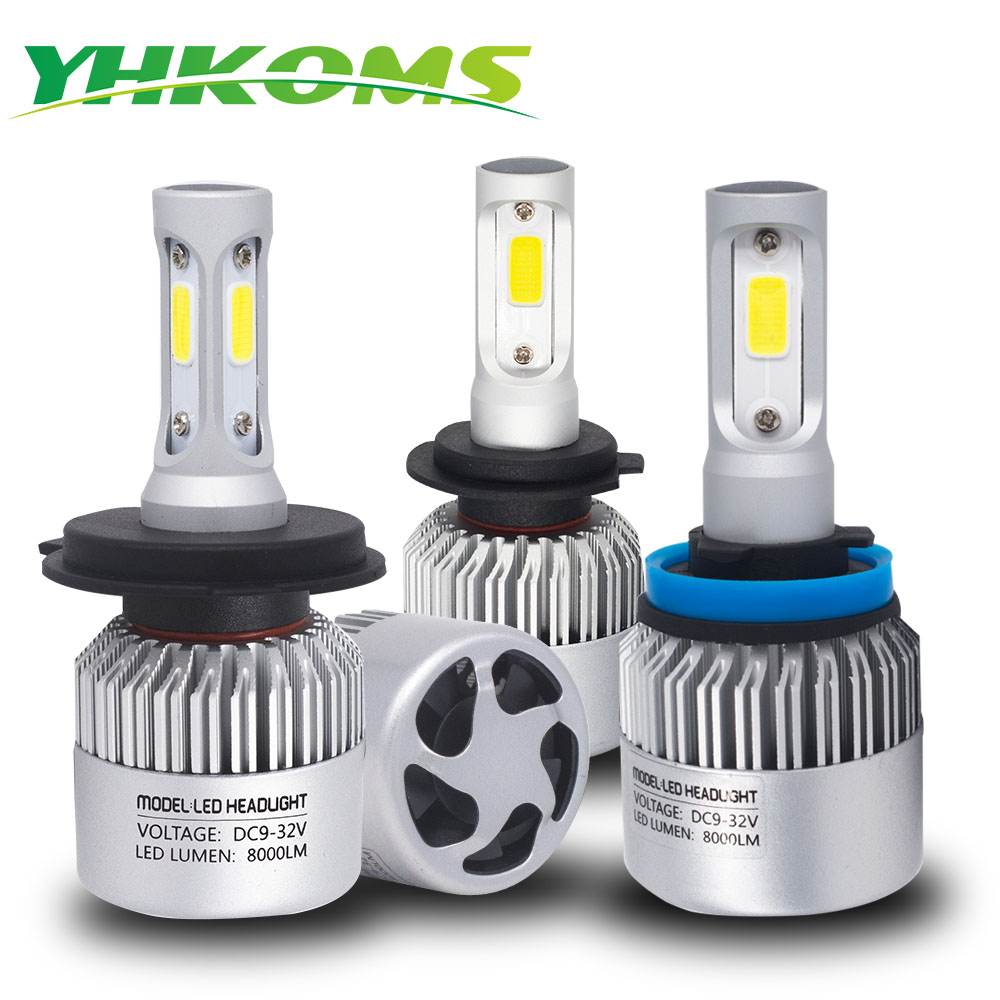 YHKOMS Car Headlight H4 H7 LED H1 H3 H7 H8 H9 H11 9005 9006 HB4 9004 9007 880 881 H13 LED Bulb 8000LM COB Auto Headlamp 6500K