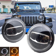 New Car LED 7 Inch Round Headlight DRL Turn Signal Halo Headlights For Jeep Wrangler JK TJ CJ Hummer Lada Niva 4X4 Headlamps