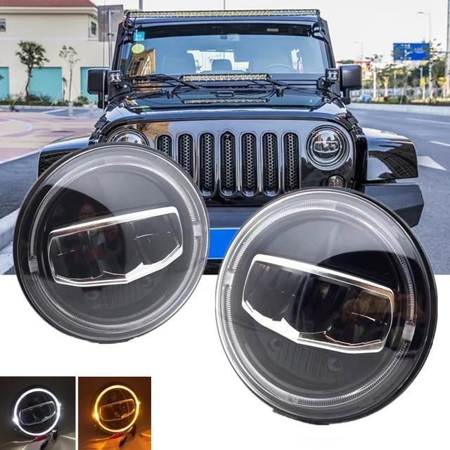 New Car LED 7 Inch Round Headlight DRL Turn Signal Halo Headlights For Jeep Wrangler JK TJ CJ Hummer Lada Niva 4X4 Headlamps