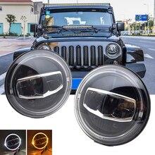 Nouveau phare rond de voiture, clignotant Halo DRL, pour Jeep Wrangler JK TJ CJ Hummer Lada Niva 4x4, 7 pouces, LED