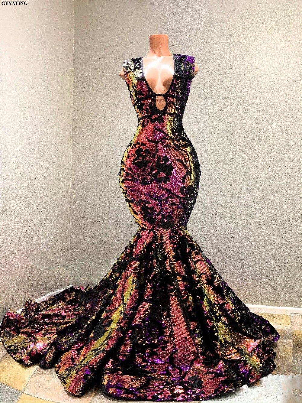 Sparkly Sequin Velvet Mermaid African Prom Dresses 2019 Vestidos de gala Sexy V-Neck Court Train Black Girls Evening Party Dress