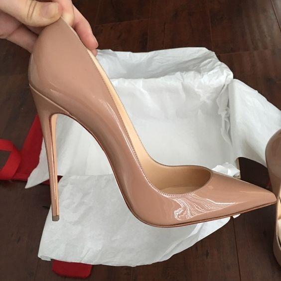 Ayakk.'ten Kadın Pompaları'de Büyük Boy Ayakkabı Kadın Çok Güzel Kate Topuklu 12 cm/10 cm Siyah Patent Deri Ayakkabı Pigalle Moda Düğün ayakkabı Gelinlik Kadınlar Pompaları'da  Grup 2