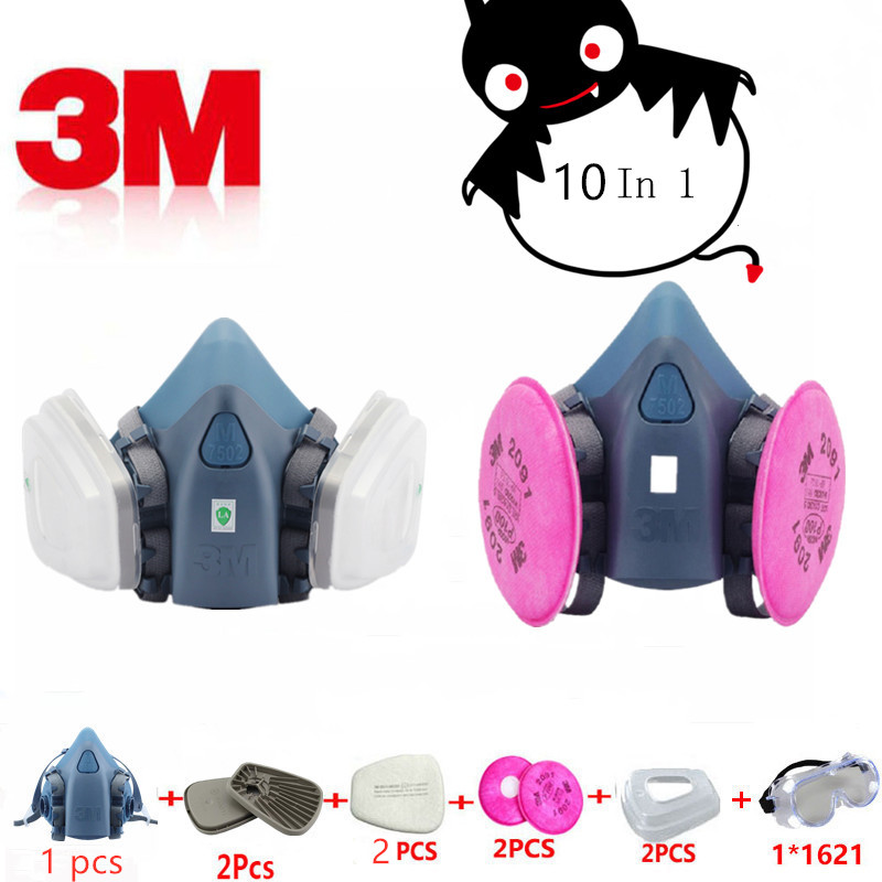 10 In 1 3M 7502 2091 Half Gas Mask Respirator Anti-Dust Pollution Filter Safety Protective Silicone Shield Smoke Chemical Mask