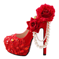Women's Dress Red Shoes With Flowers For Wedding Diamond Bridesmaid Stylish Pumps Cheap Platform Stiletto High Heels