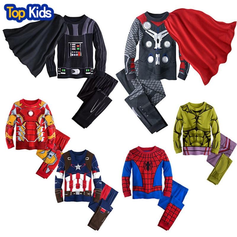 MB493 Spring Kids Pajamas Clothes For Boys Hulk Superhero Batman Iron Man Costume Spiderman Children Sleeping Wear Clothing Sets