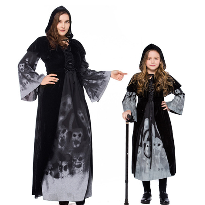 Hoodie Witch parent-child clothing Grim Reaper Women girl black Dress Scary Cosplay Costumes Halloween Mother Daughter Dresses