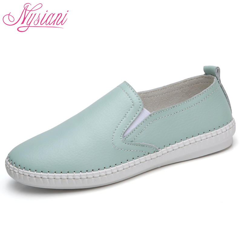 Leather Woman Sneakers Shoes Flat Loafers 2018 New Breathable Soft Bottom Round Toe Slip-on Casual Flats Women Shoes Nysiani ballet flats women flat shoes fashion loafers round toe slip on shoes woman casual soft comfortable