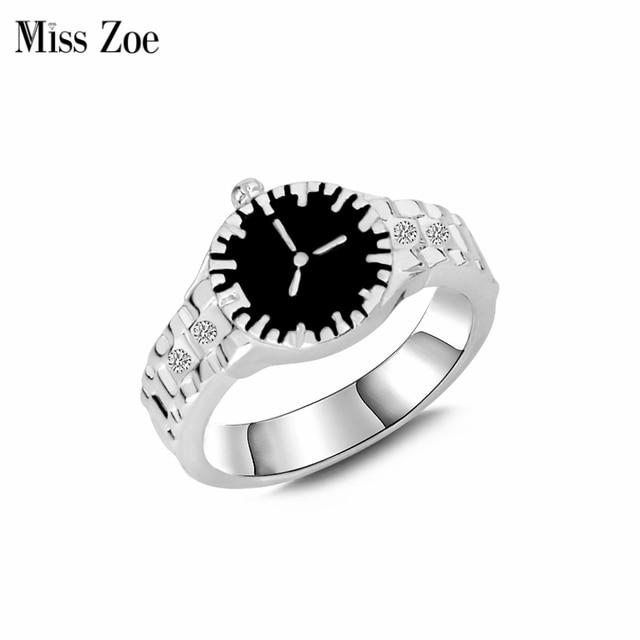 A senhorita Zoe Anel Relógio Simples Personalidade Strass Anel de Prata Dos Homens Das Mulheres Cool Fashion Jóias anel anillo anneau Presente para amigos