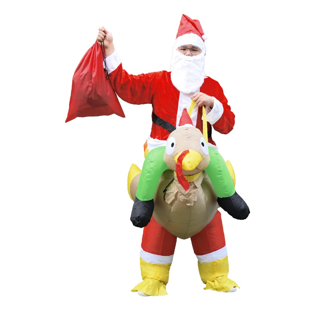 Santa Claus Ride On Turkey Inflatable Costume for Christmas Halloween Cosplay Costume for Adult Father Christmas Blow Up Costume